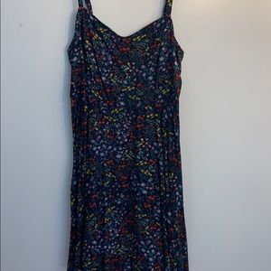 navy background colorful smooth floral dress